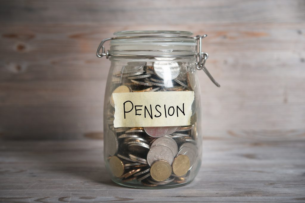Money jar with pension written on